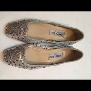 JIMMY CHOO silver leather ballet flats stars 36.5